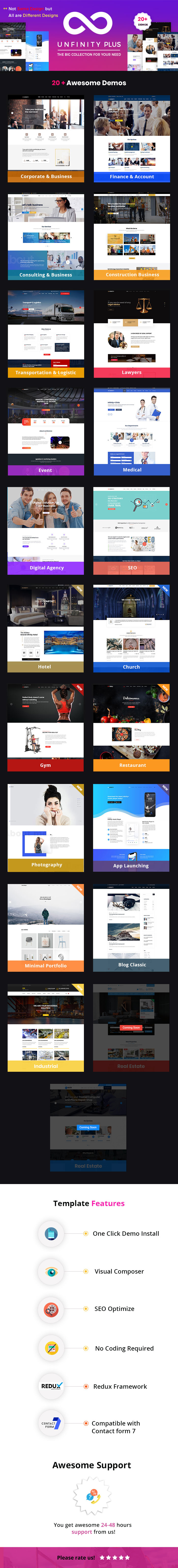 Unfinity Plus - One Page Multi-Purpose WordPress Theme